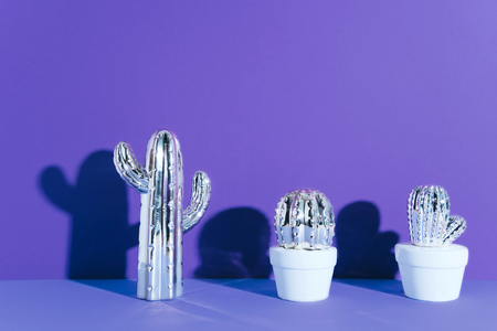 Creative cactus on ultraviolet background.