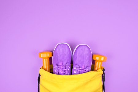 Creative flat lay of sport and fitness equipments Stock Photo
