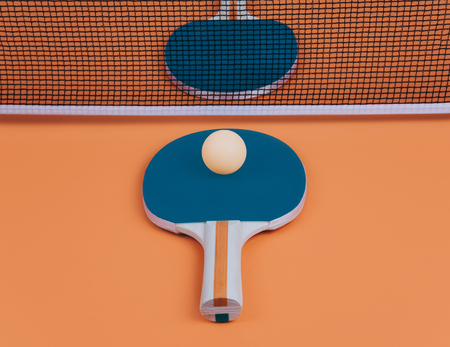Table tennis or ping pong rackets and balls. Stock Photo