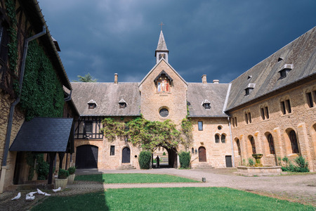 ORVAL, BELGIUM - MAY, 2018: Entrance of famous Orval Abbey in Belgian.