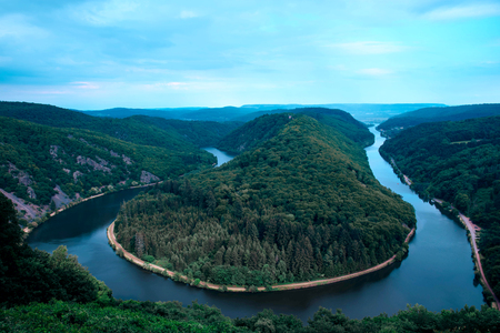 Saar loop close to Mettlach, Germany. A famous view point. Kho ảnh