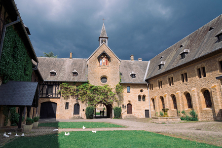 ORVAL, BELGIUM - MAY, 2018: Entrance of famous Orval Abbey in Belgian. The abbey is famous for its trappist beer.