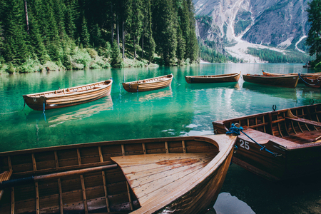 Beautiful view of Lago di Braies or Pragser wildsee, Trentino Alto Adidge, Dolomites mountains, Italy. Kho ảnh