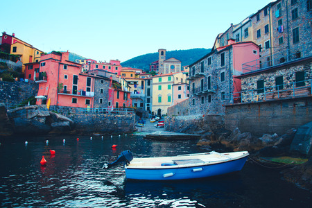 Scenic view of colorful village Riomaggiore, Cinque Terre, Italy.