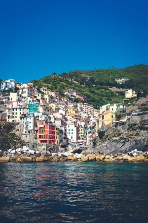 Scenic view of colorful village Riomaggiore, Cinque Terre, Italy.