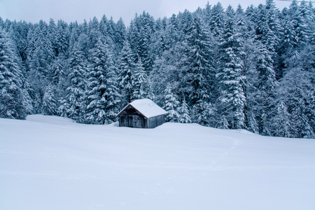 Beautiful winter landscape in the mountains. Cold weather, snow on hills.