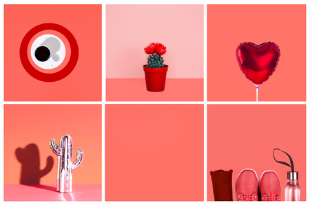 Collage inspired by color of the year 2019 - Living Coral. Creative minimal style. Stock Photo
