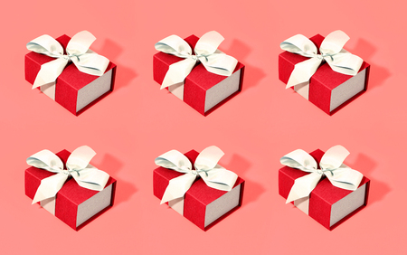 Pattern made of gift boxes on trendy background. Color of the year 2019.