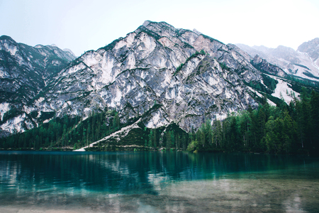 Beautiful view of Lago di Braies or Pragser wildsee, Trentino Alto Adidge, Dolomites mountains, Italy. Stock Photo