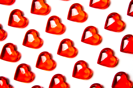 Red hearts against bright background. Valentines day theme. Stock Photo