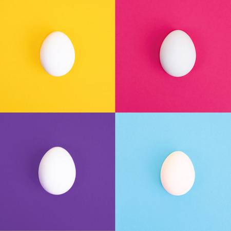 White eggs on trendy background. Creative minimal concept.