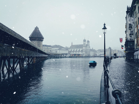 Lucerne, Switzerland, historical Old Town in winter. Travel concept. Stock Photo