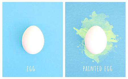 One white egg on pastel blue background. Creative minimal concept.