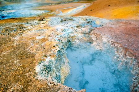 Fumarole field in Namafjall, Iceland. Geothermal beauty landscape.