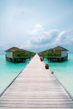 Meeru Island Maldives April 2019. - Amazing tropical Overwater Bungalow Resort on the beach. Editöryel
