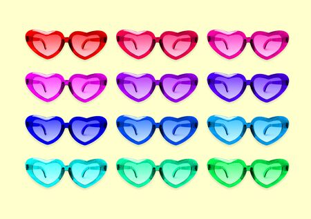 Pattern of heart shaped sun glasses on yellow background.