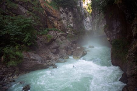Inside the Aare Gorge, a section of the river Aare that carves through a limestone ridge near in Switzerland. Banque d'images