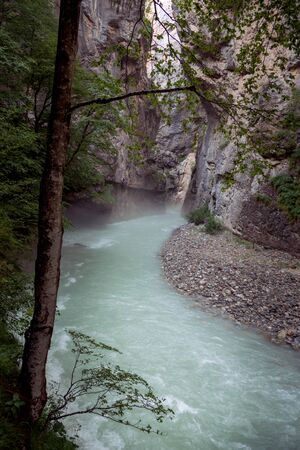 Inside the Aare Gorge, a section of the river Aare that carves through a limestone ridge near in Switzerland. Zdjęcie Seryjne