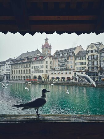 Lucerne, Switzerland, historical Old Town in winter. Travel concept. Zdjęcie Seryjne