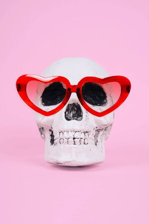 Skull on trendy pastel pink background. Creative Halloween concept. Zdjęcie Seryjne