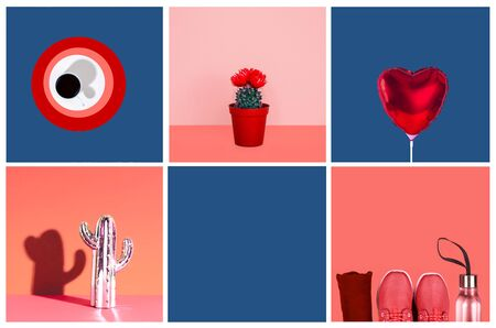 Collage inspired by color of the year 2019 - Living Coral. Creative minimal style. Zdjęcie Seryjne