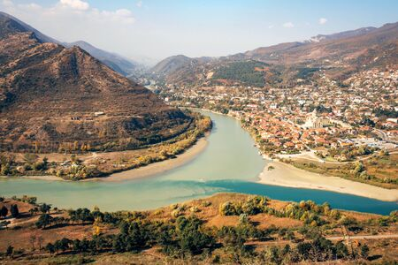 View of Mtskheta, Georgia. The picturesque landscape with the confluence of the rivers Kura and Aragvi.