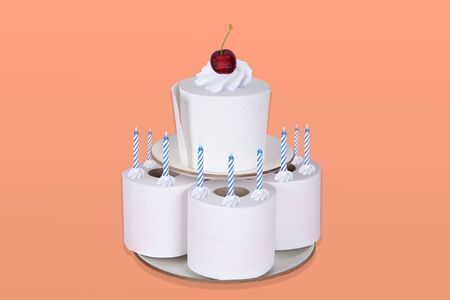 Toilet Paper Rolls as a Cake On Orange Background. Concept photography.