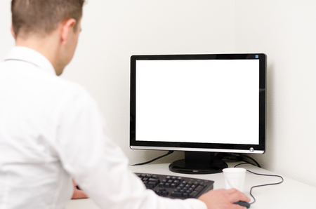 business man working on a computer with a white screen Stock Photo