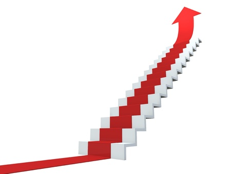 Red arrow following the stairs of growth