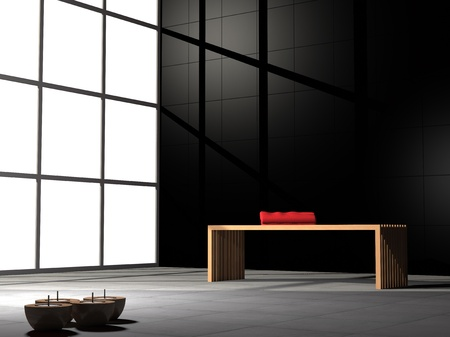Ribbed bench and red towel in a zen like room