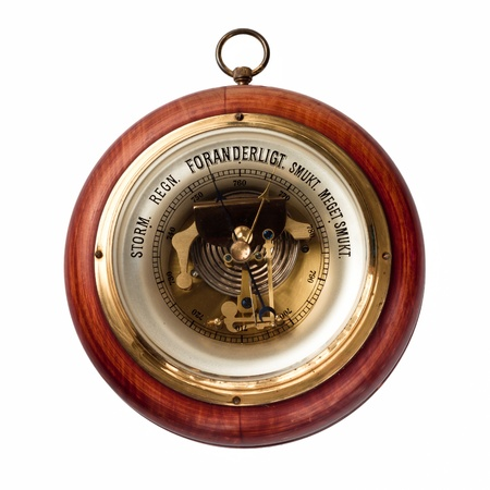 foresee: Old danish barometer of wood and brass Stock Photo