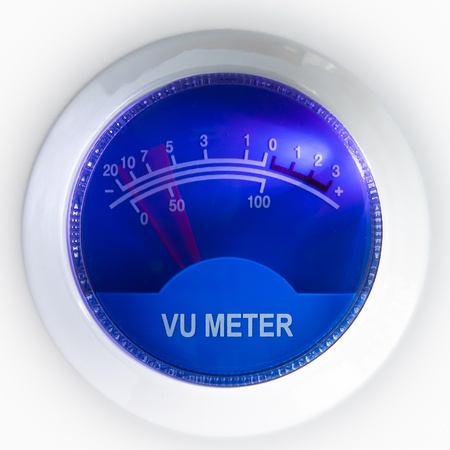 vu meter with blue background Stock Photo