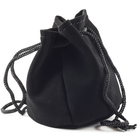 closed ribbon: Black purse on a white background