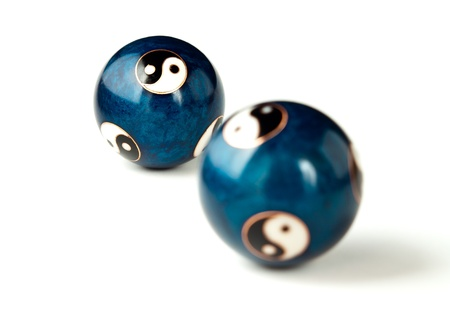 steel balls: Two blue ying yang steel balls