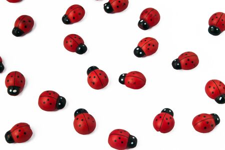 Group of ladybirds made of wood