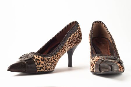 A cool pair of leopard high heeled shoes photo