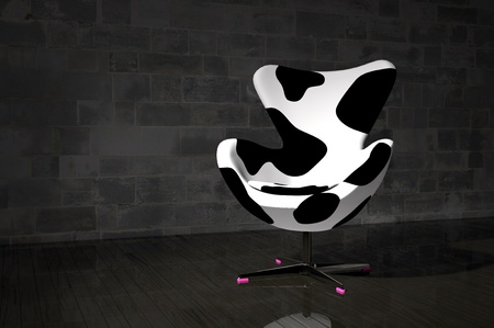 Modern chair with cow skin fabric
