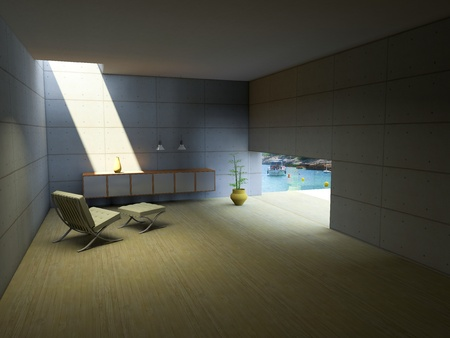 Simple concrete room with markedly sunlight through the ceiling