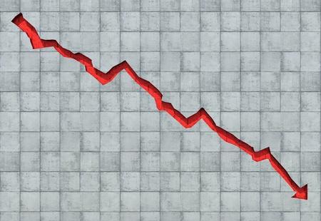 矢印が示す経済の衰退をコンクリートの壁で切り分けた