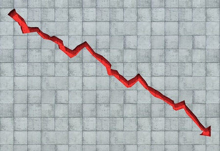 stock market crash: Arrow carved out in concrete wall showing economic decline