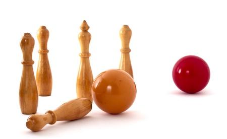 overthrown: Billiard ball has overthrown a skittle or pin