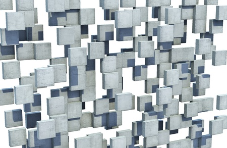 Floating concrete cubes forms an abstract perforated wall Stock Photo