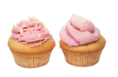 Homemade cupcakes with pink topping and white chokolade