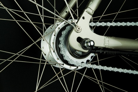 Internal bicycle speed hub on a city bike Stock Photo