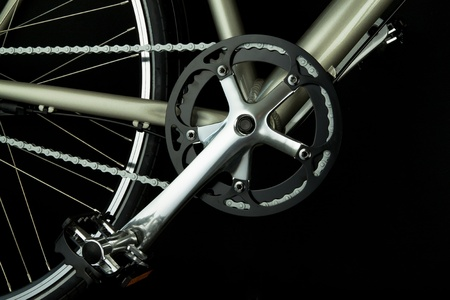 Close up of bicycle parts related to the crank photo
