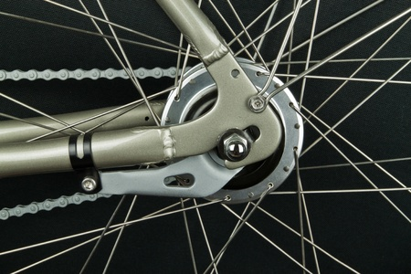 Break arm on rear wheel hub of a bicycle Stock Photo