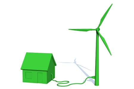 Green house is getting its power from a green wind turbine Stock Photo