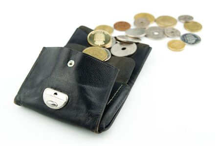 Old purse with scandinavian coins in different colors and sizes floating out
