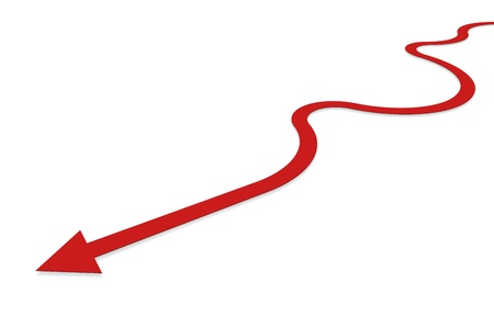change concept: Red arrow symbolizing the way back on track