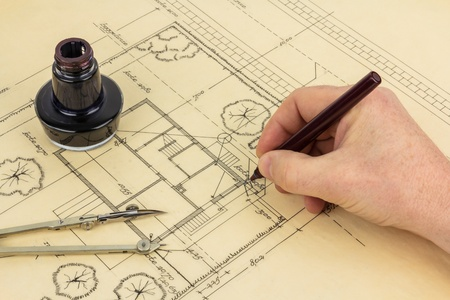 Architectual drawing in an old fashioned way Stock Photo - 13175343